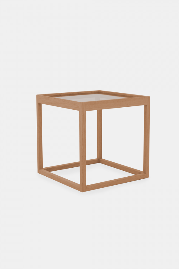 Kurt Østervig Cube side table, smoked glass and oak