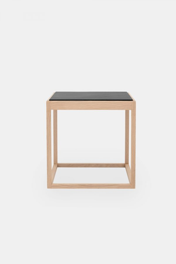 cube side table, grey marble plate and oak