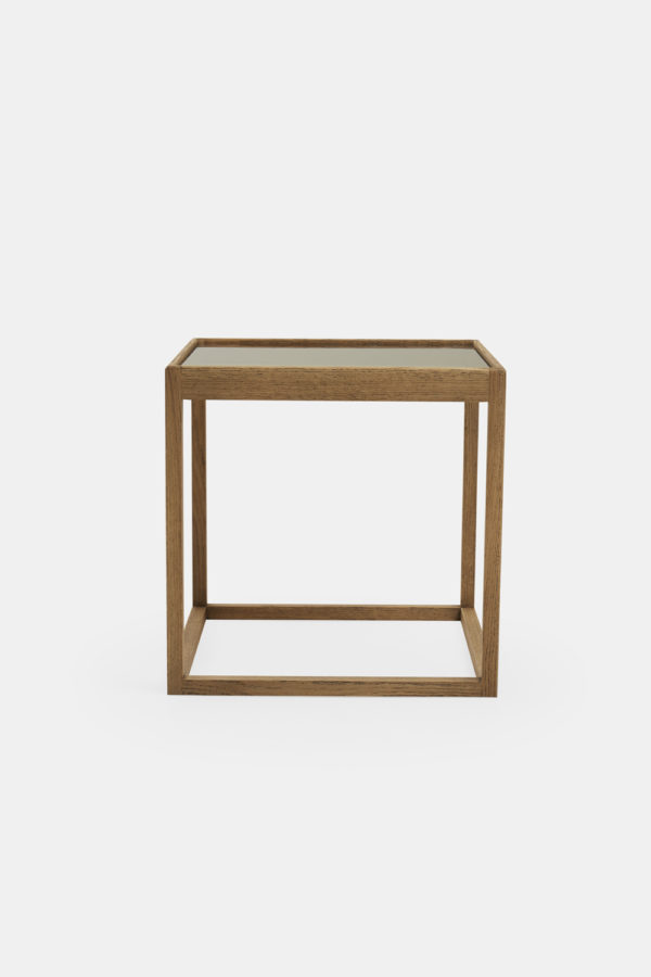 Cube table smoked glass