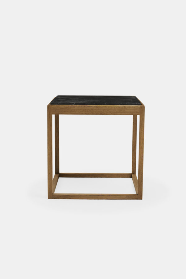 Cube table black marble
