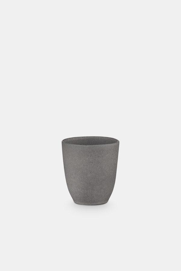 stoneware coffee mug without a handle